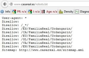 archivo robots.txt de la casa Real. Qué son los bots